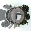 Downtown Miami driving motion footage tiny planet