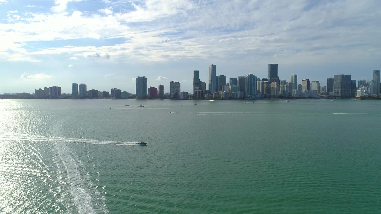 Beautiful establishing footage Brickell Bay Miami Florida
