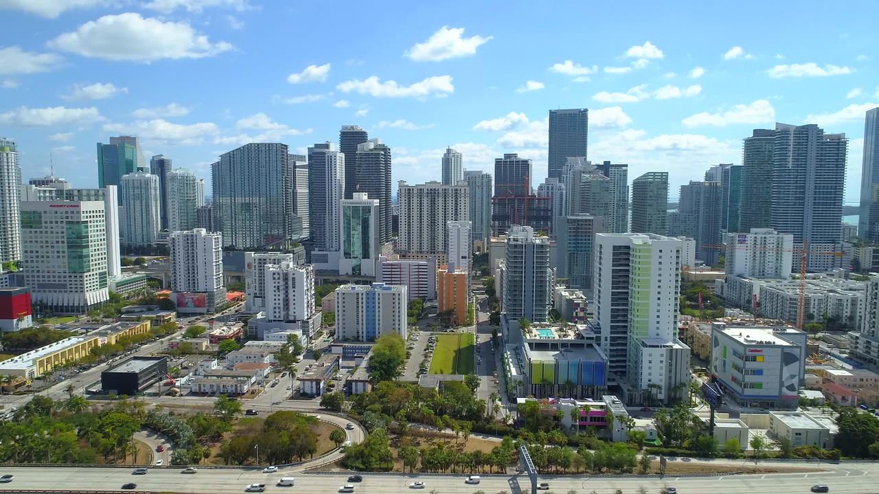Aerial push in shot Downtown Miami Brickell 4k 30p