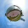 Tiny globe miniature planet Miami Beach Florida USA