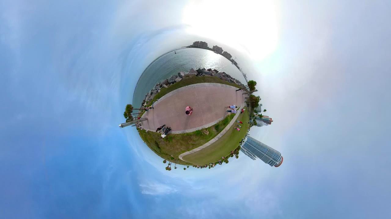 Tiny globe miniature planet Miami Beach Florida USA