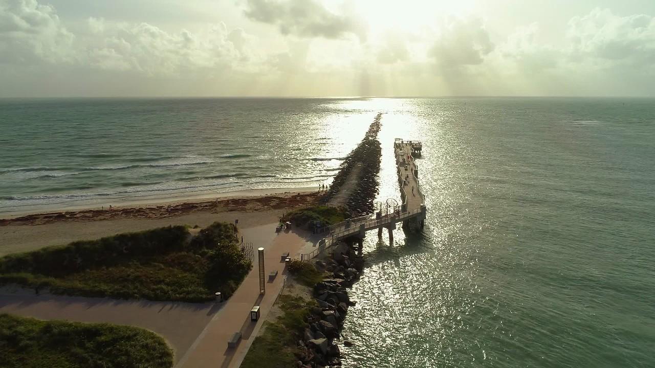 Beautiful morning beach scene Miami aerial drone