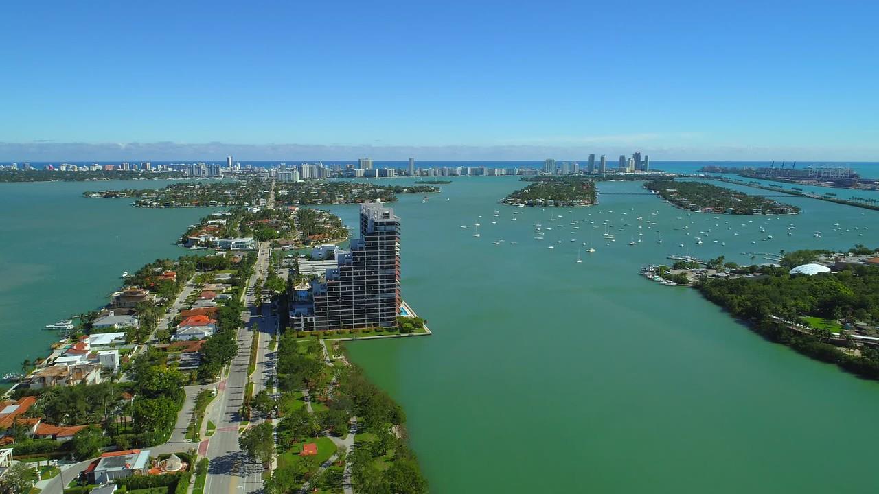Aerial biscayne bay venetian islands 4k 24p