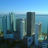 Aerial tour Miami Edgewater highrise towers condo apartments and hotels