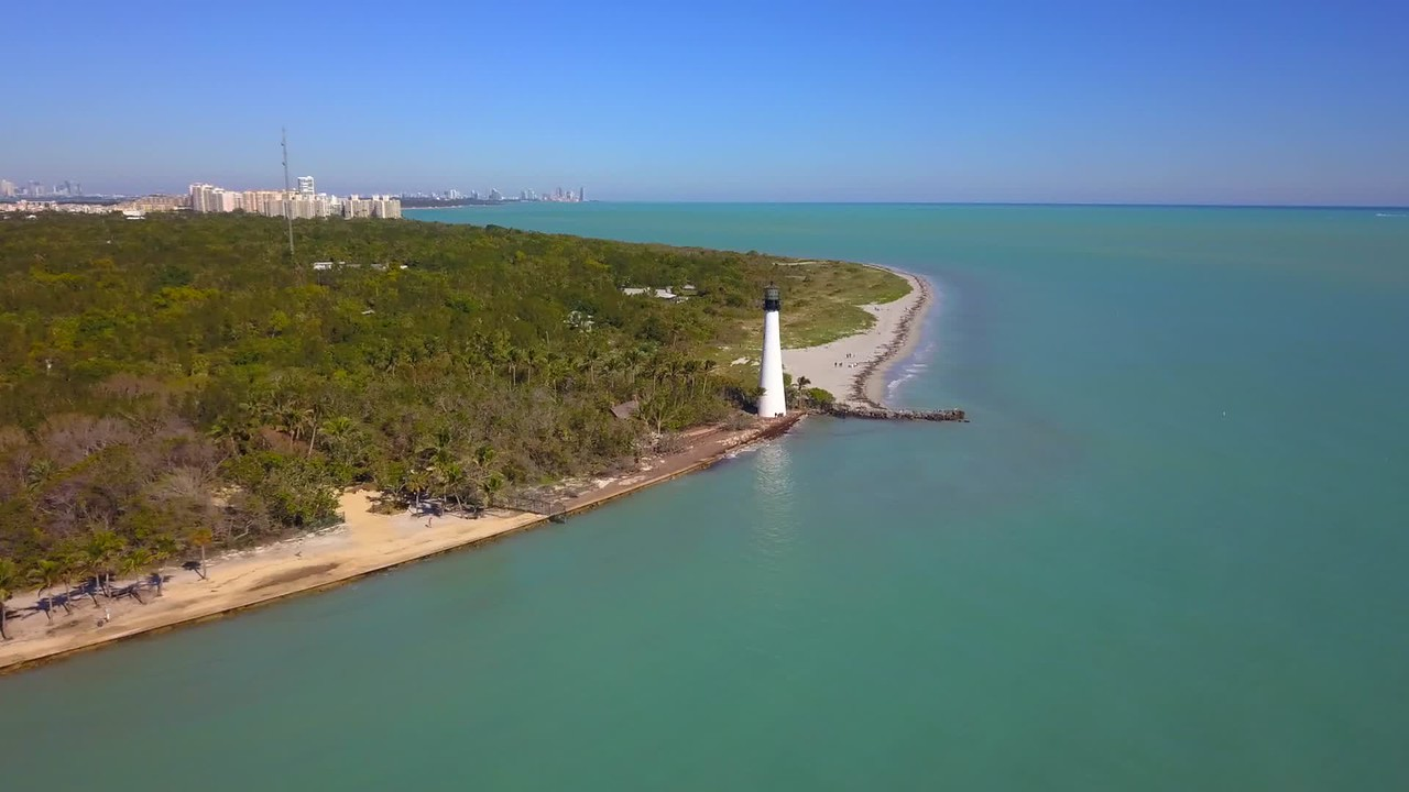 Aerial video Cape Florida Light 4k