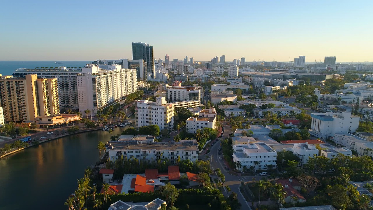 Aerial video City of Miami Beach 4k