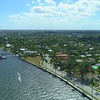 Aerial video waterfront homes with dockage West Palm Beach 4k 60p