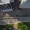 Stock aerial Flagler Street Downtown Miami 4k