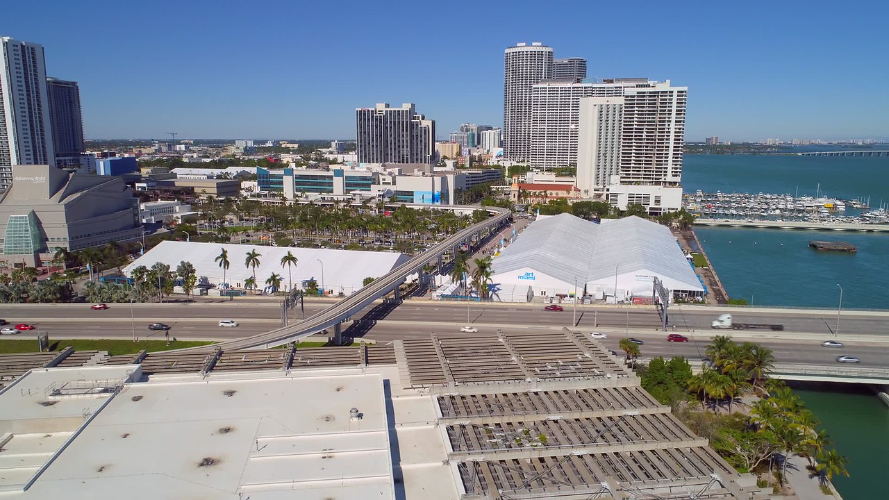 Aerial video Art Basel Miami Downtown tents 4k