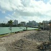 Aerial drone footage demolition site Miami Beach Belle Isle Court Apartments