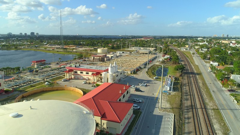Aerial video footage West Palm Beach water treatment plant