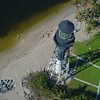 Cinematic aerial drone flyover Hillsboro Lighthouse Florida