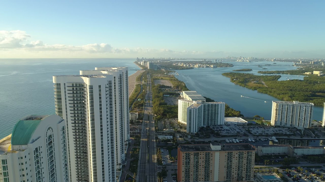 Aerial drone Trump Towers Sunny Isles Beach Florida 4k 24p