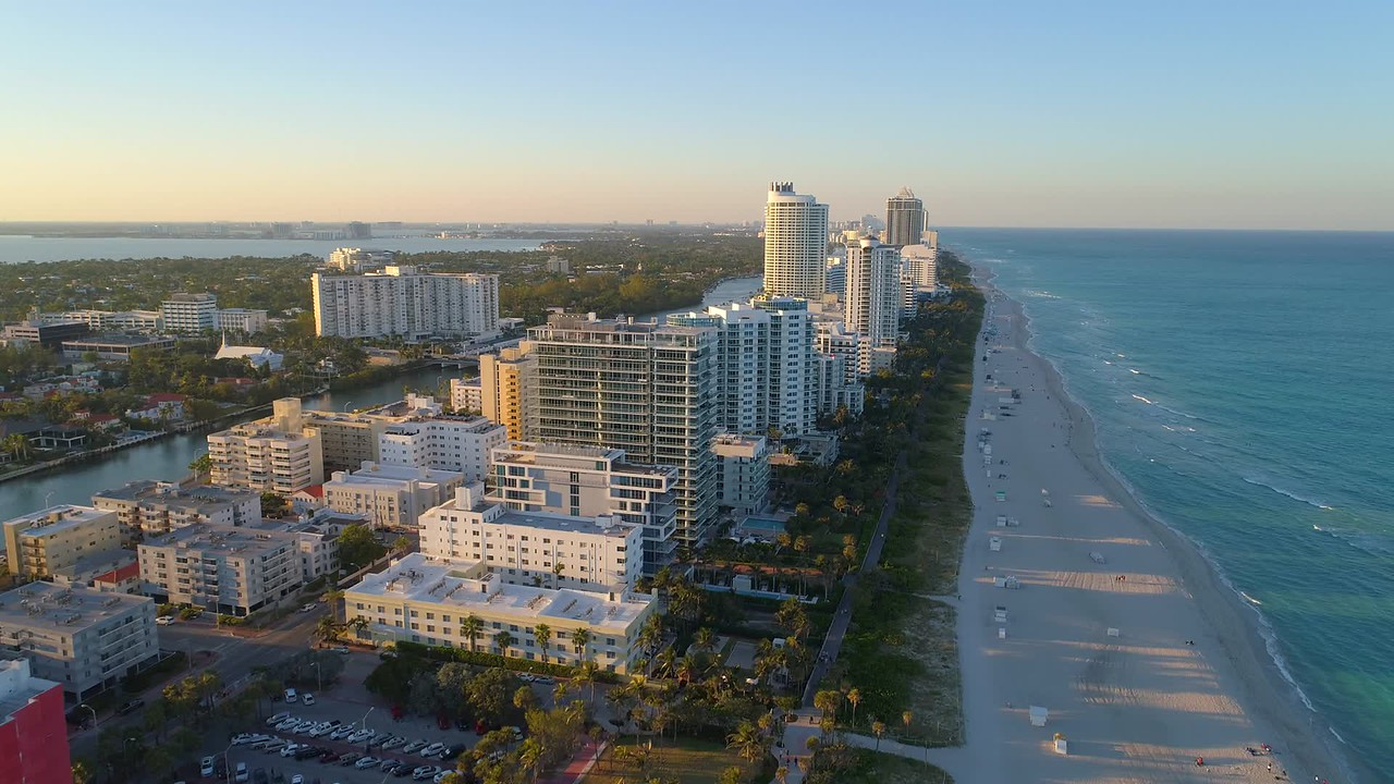 Drone video Miami Beach Beachfront condominiums 4k