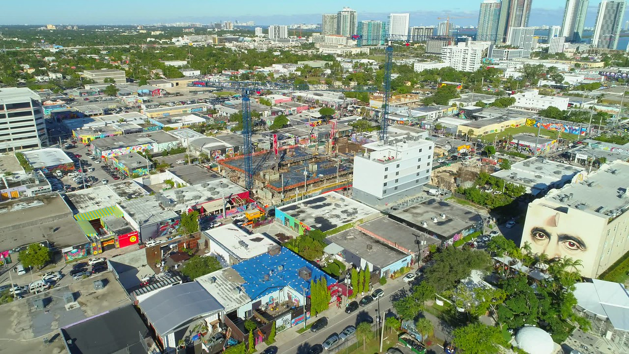 Aerial video Miami Wynwood art walls basel 2017 4k 24p