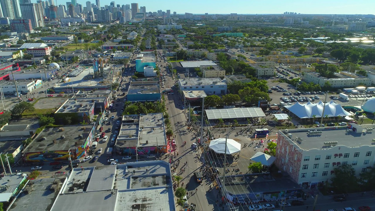 Aerial drone tour Art Basel Miami FL 4k 24p footage