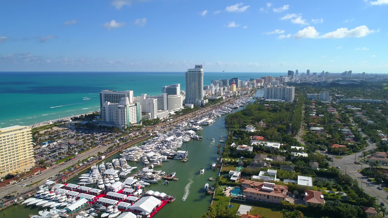 Cinematic aerial drone footage Miami International Boat Show Indian Creek Beach 4k