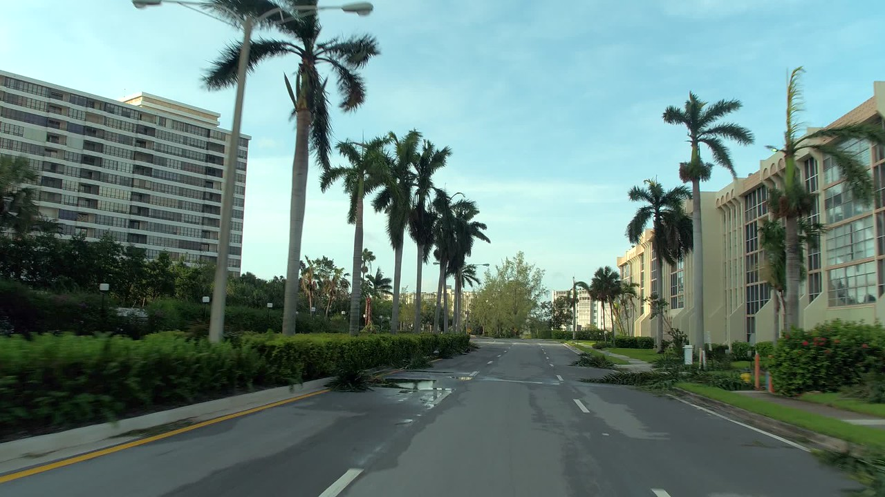 Driving through the streets of Hallandale after Hurricane Irma