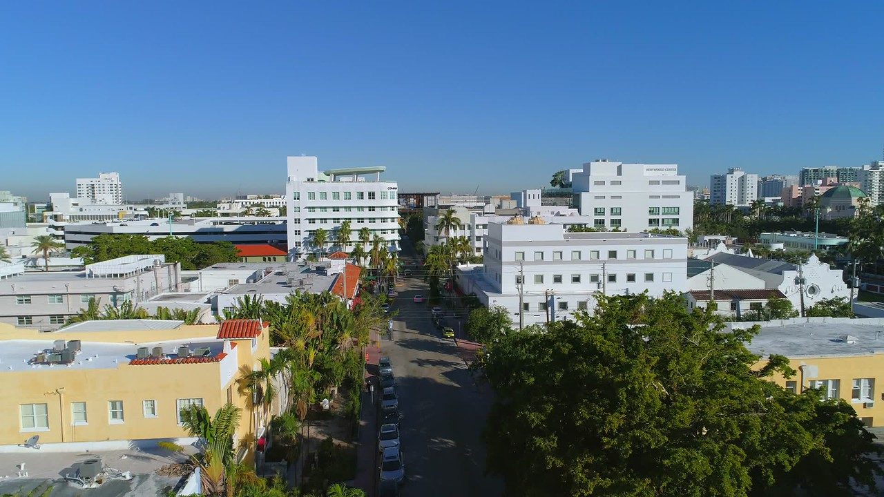 Compass offices Lincoln Road Miami Beach aerial video