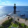 Stock footage aerial Hillsboro Lighthouse FL USA