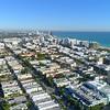 Aerial flying over Miami Beach coastal Atlantic