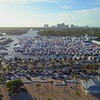 Aerial video Fort Lauderdale boat show with view of Downtown