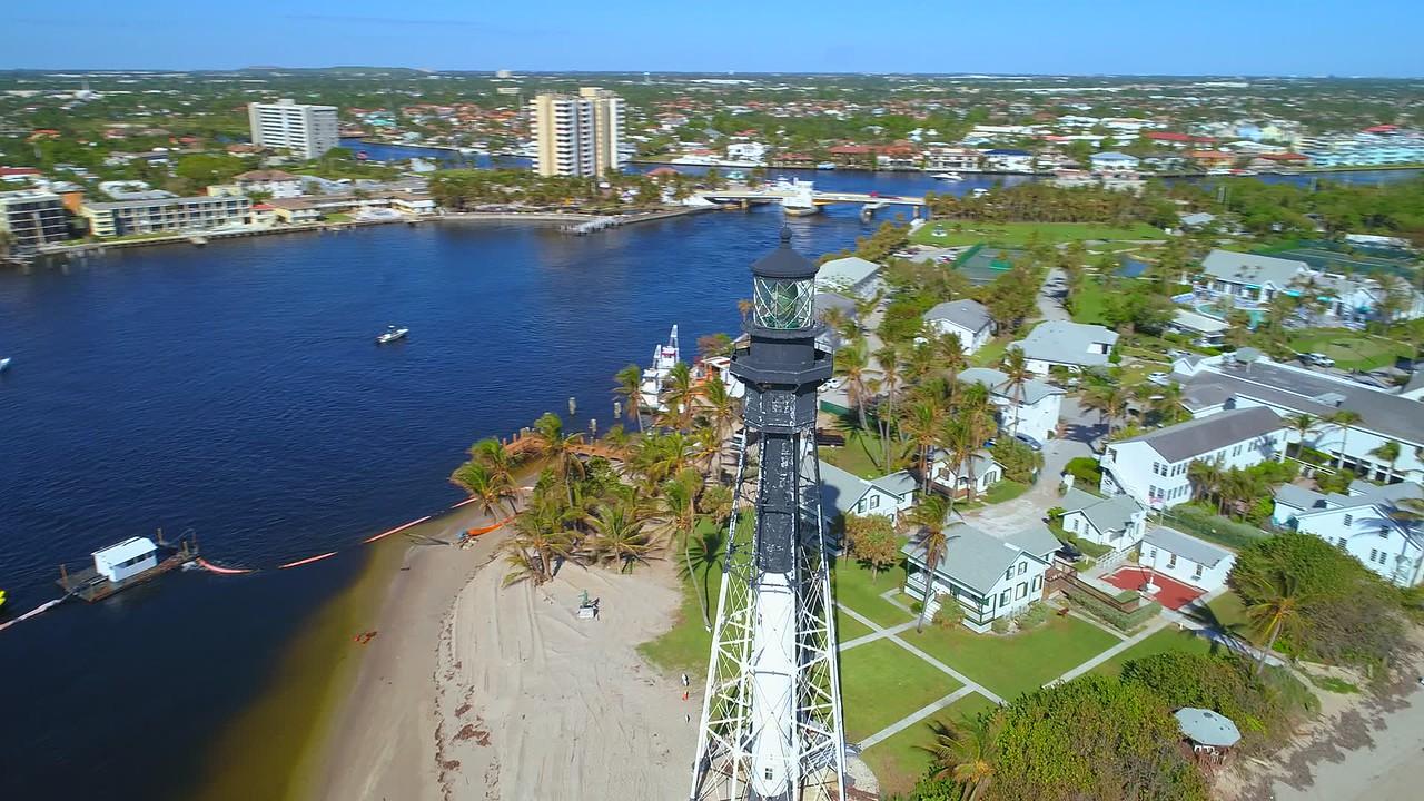 Aerial video Hillsboro Lighthouse built in 1907