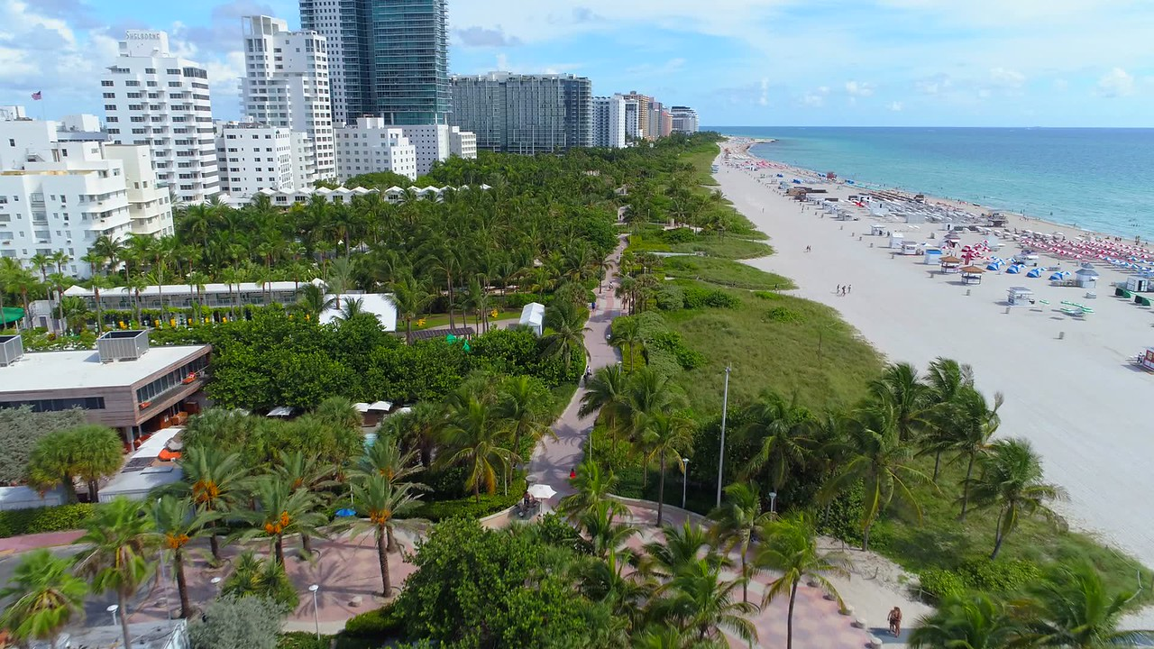 Sunny South Beach aerial video tour