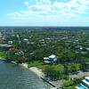 Aerial residential neighborhood in West Palm Beach approaching Southern Boulevard Bridge Intracoastal