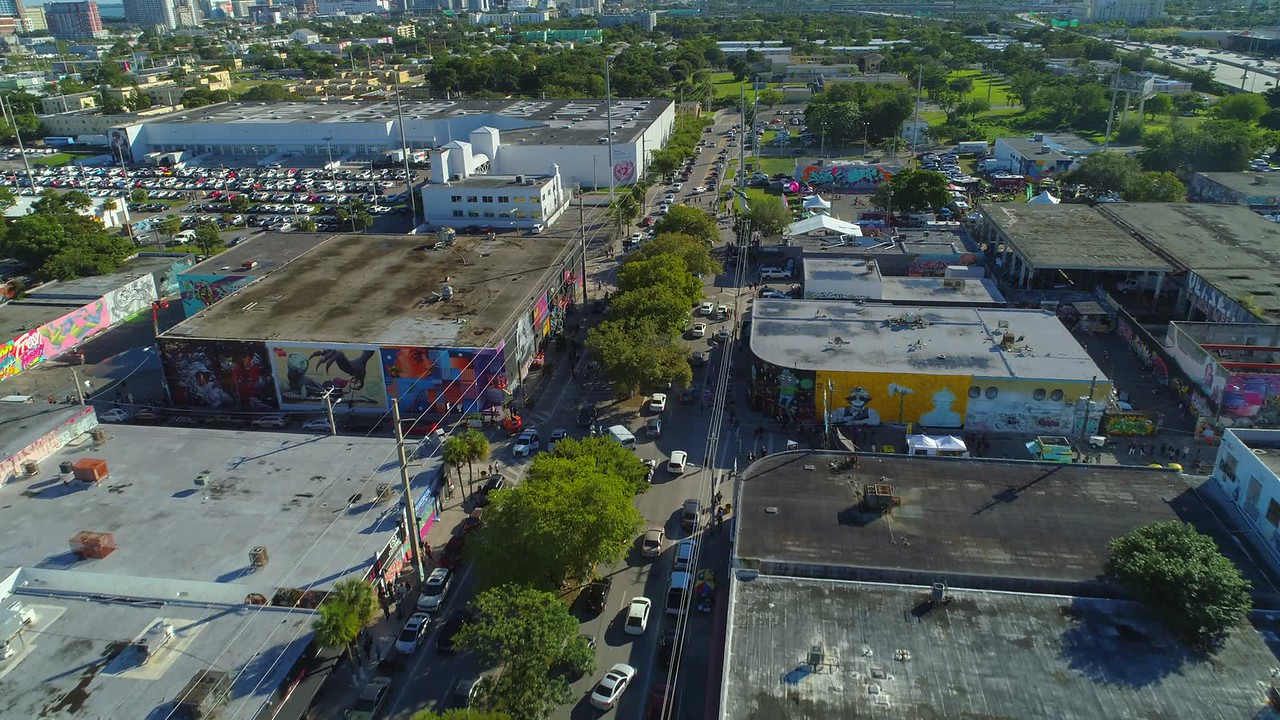 Stock aerial footage Miami Art Basel Wynwood 201