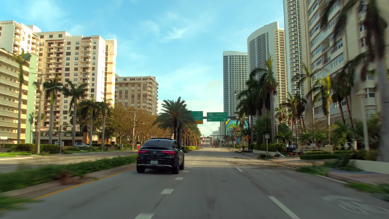 Driving streets with hurricane debris Hallandale