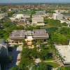 Aerial backfly pull out shot Florida International University Miami 4k