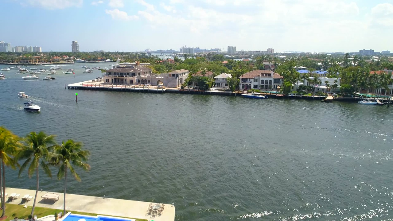 Aerial inspection footage Luxury waterfront home construction in Fort Lauderdale Florida
