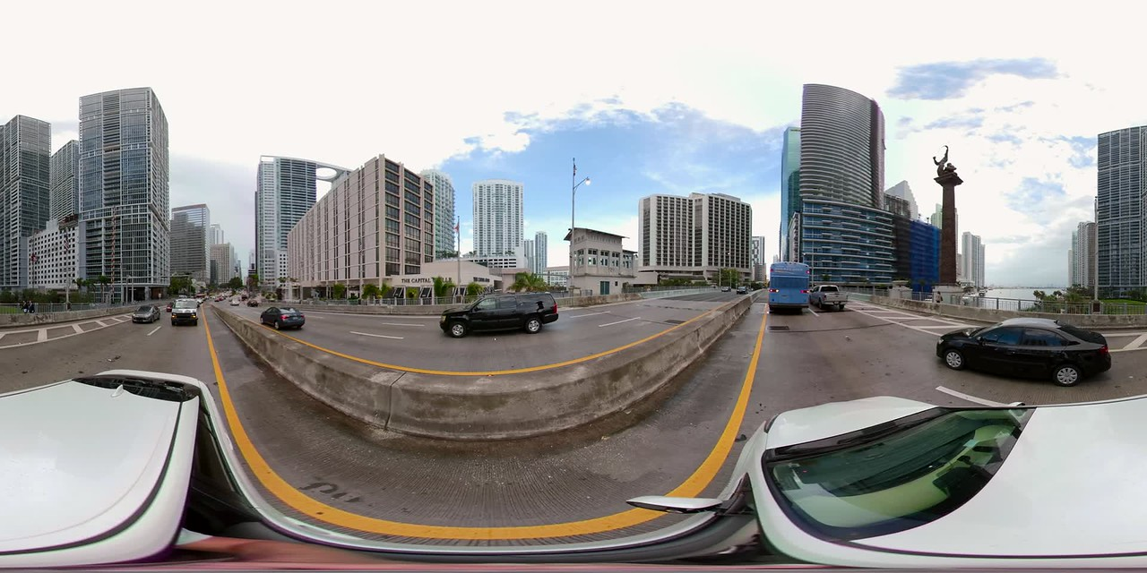 360vr footage driving on Brickell Bridge plates motion stabilized video