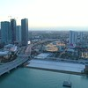 Aerial twilight hyperlapse Miami Downtown River Sports stadium Little Havana