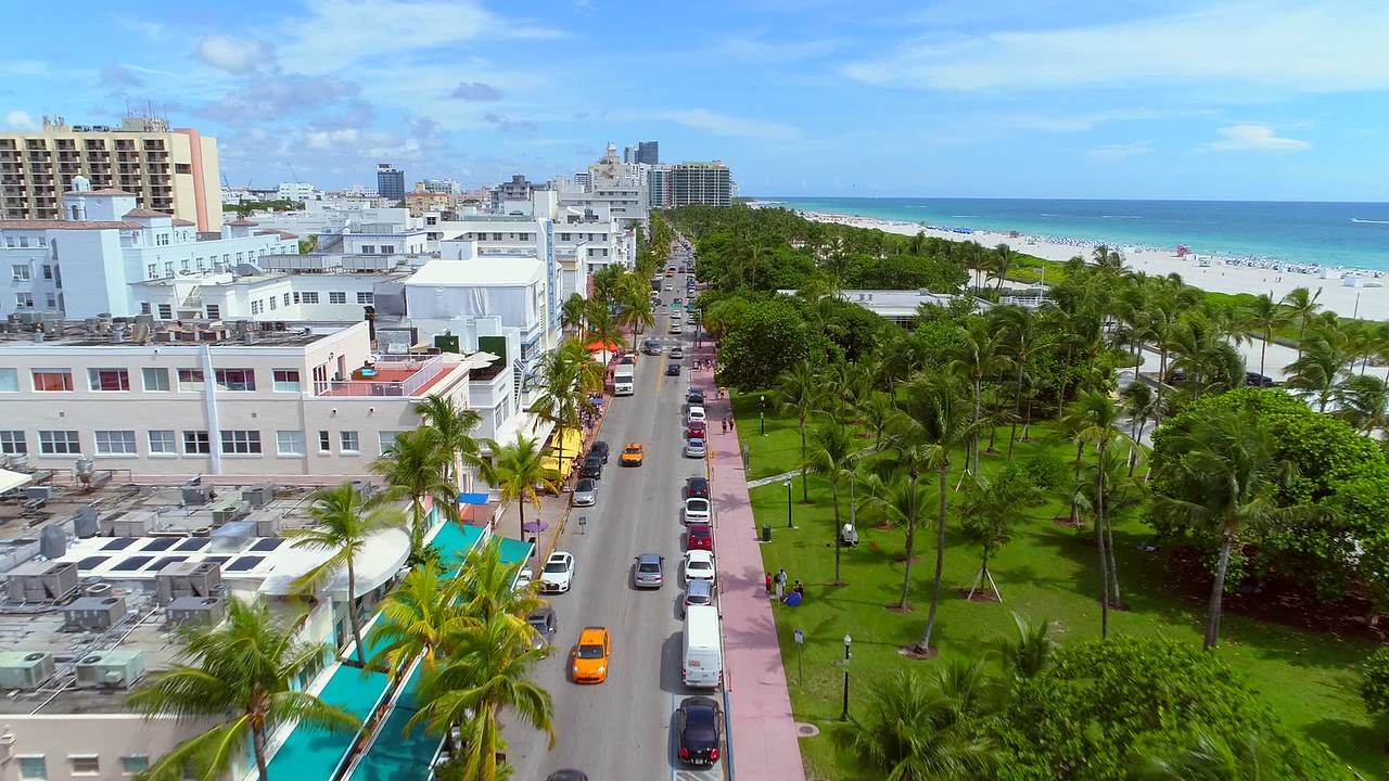 Travel destination Ocean Drive aerial video