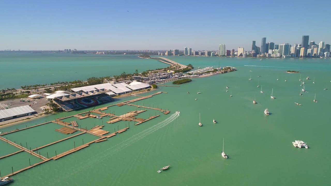 Key Biscayne Marine Stadium Miami FL aerial 4k