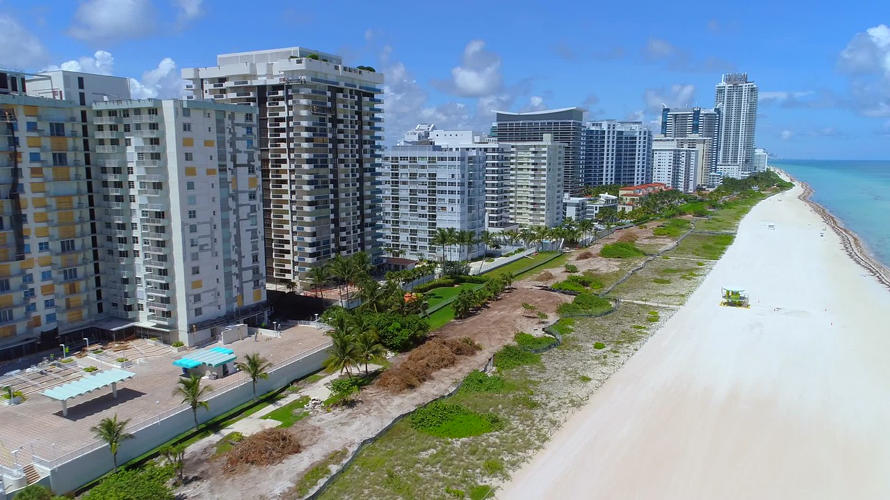 Aerial drone video Miami Beach after evacuation Hurricane Irma