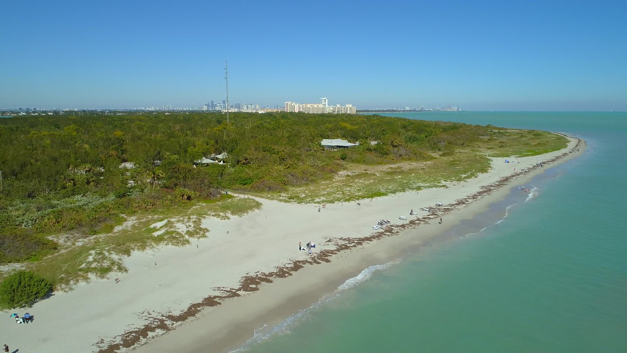 Aerial video Florida lighthouse Bill Baggs Cape Park scenic tour Crandon