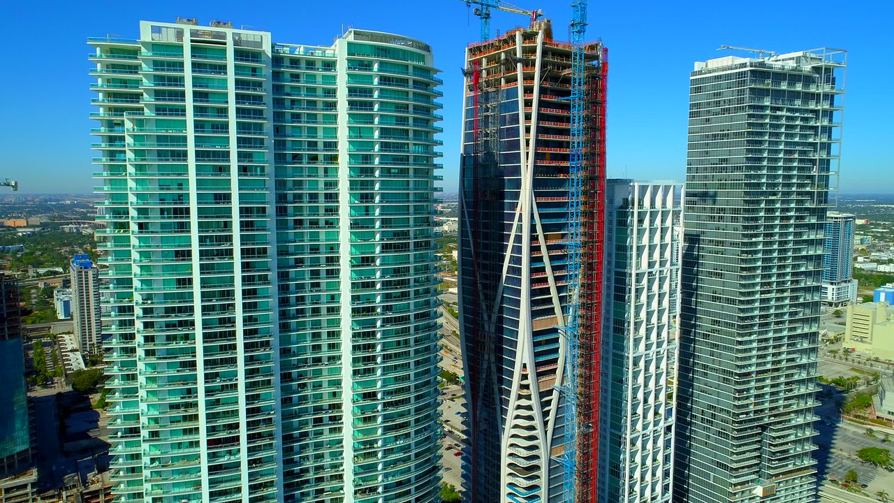 Aerial Downtown Miami 1000 Museum Zaha Hadid project 4k drone video
