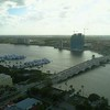 Aerial drone shot West Palm Beach FL Intracoastal and marina