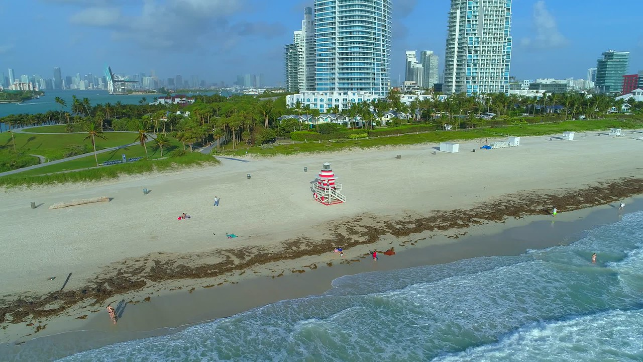 Aerial orbit Miami Beach lifeguard hut