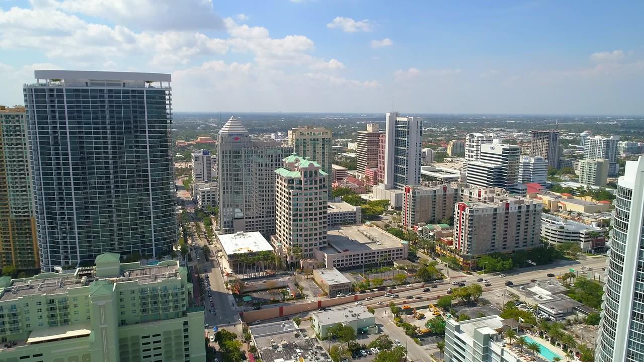 Aerial tour Downtown Fort Lauderdale Florida 4k 60