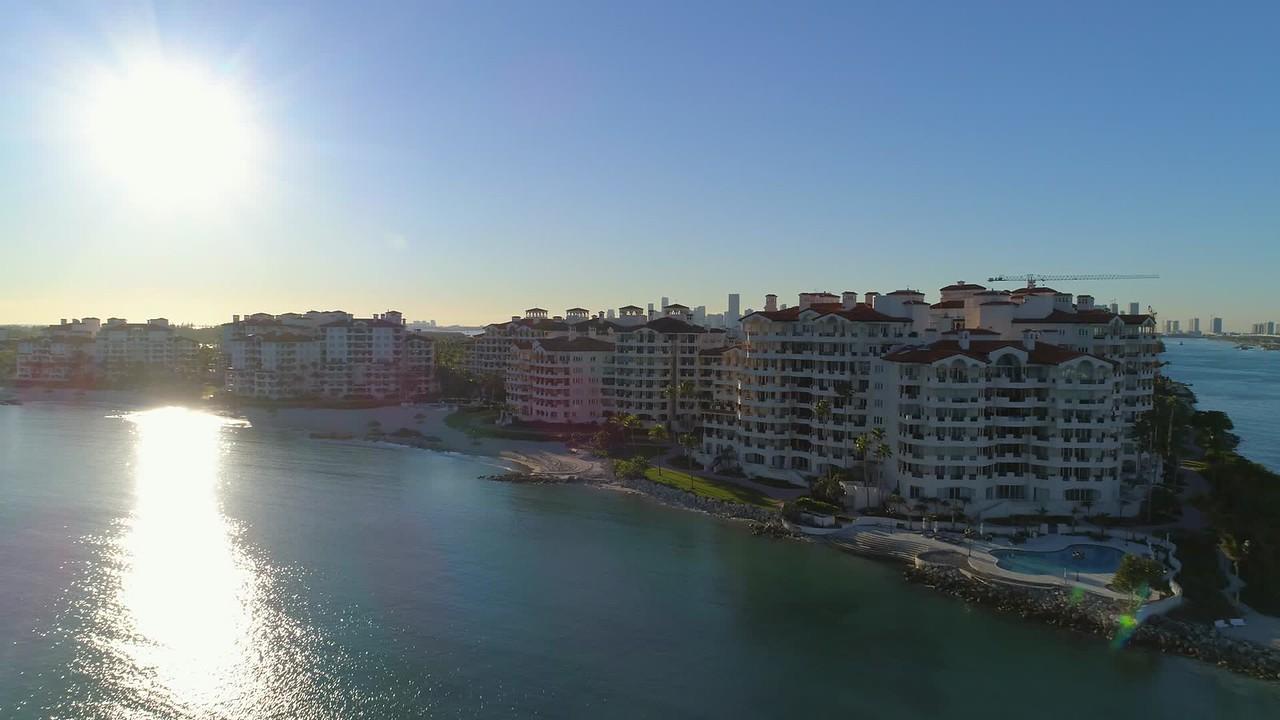 Cinema footage Fisher Island aerial drone video 4k