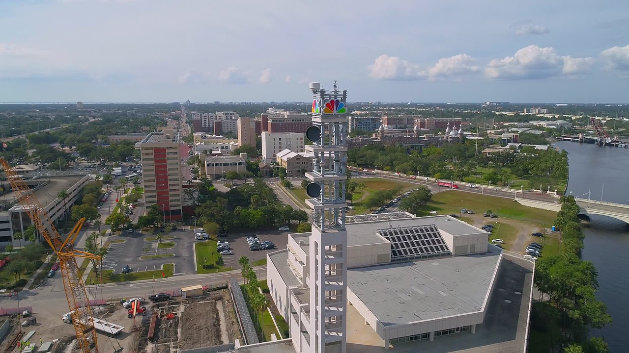 Aerial video of the NBC Tower Tampa FL National Broadcasting Company 4k