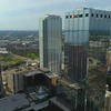 Aerial drone inspection rooftop fly over PNC Bank Tampa FL 4k 60p