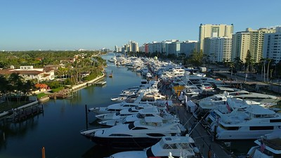 Weekend at the Miami Beach boat show 2018 flyover 4k 60p