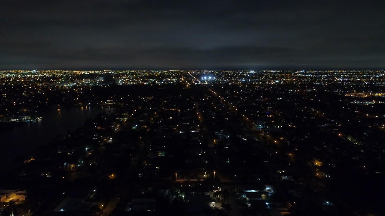 Aerial video Hollywood Lakes Florida at night