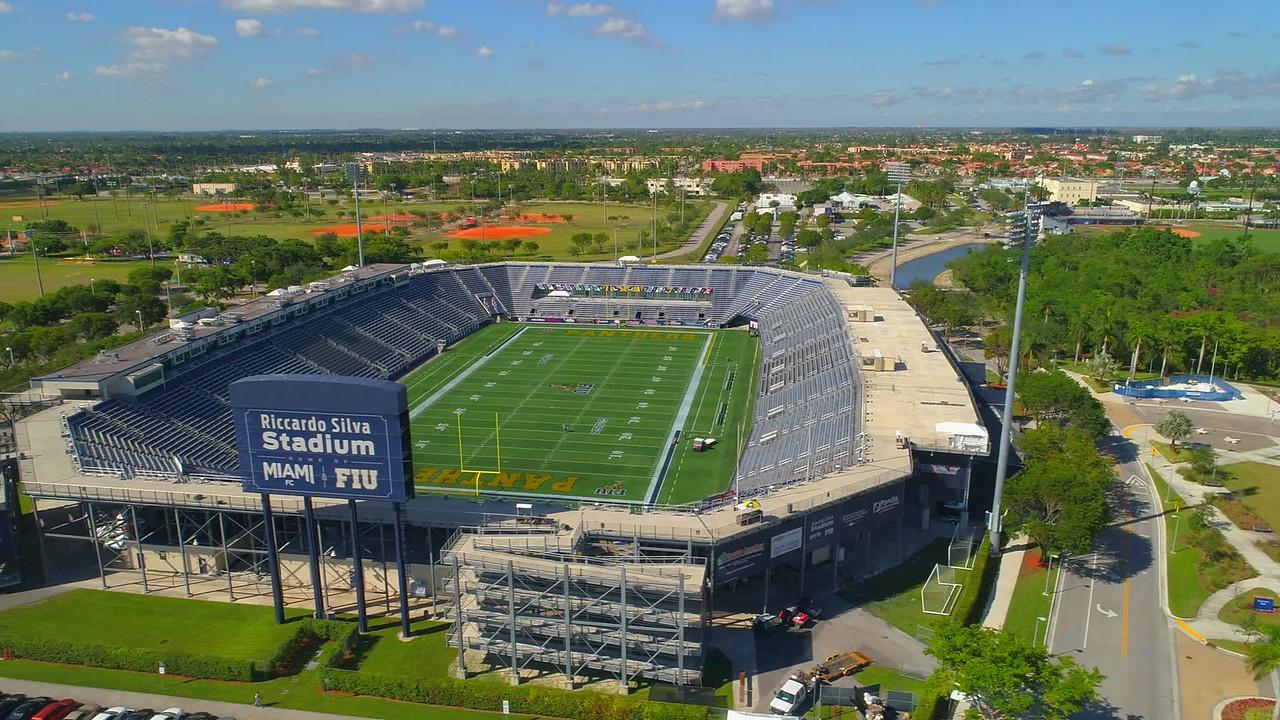 Aerial video of Riccardo Silva football stadium Miami FIU 4k