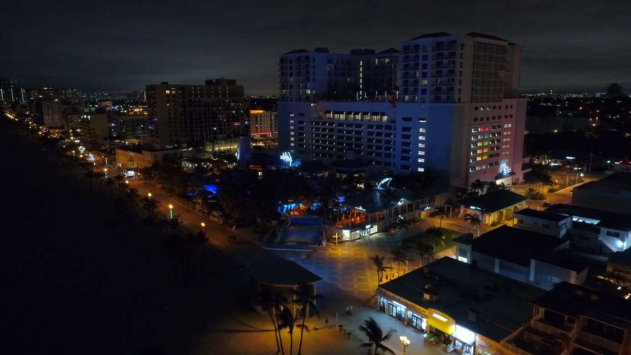 Aerial night video Margaritaville Resort Hollywood Beach FL